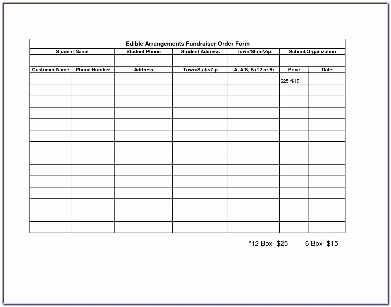 Fundraising Order Form Template Free