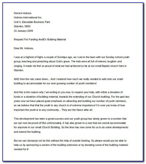 Fundraising Request Letter Template