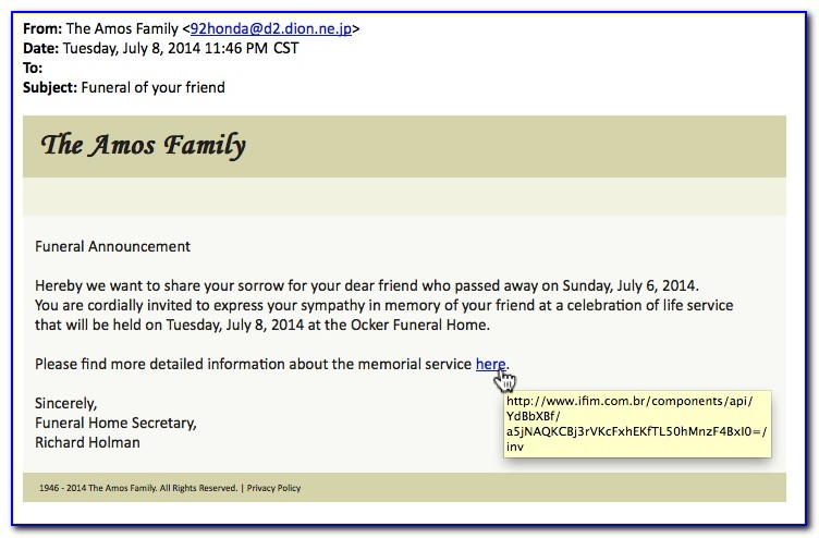 Funeral Announcement Email Sample
