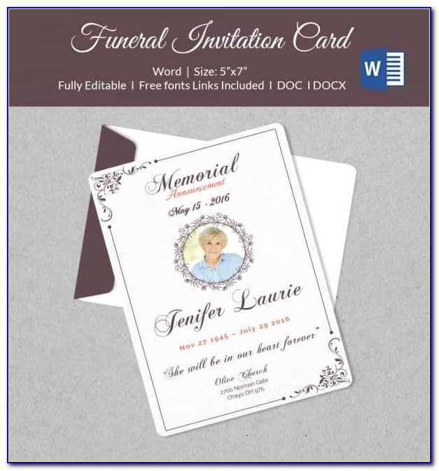 Funeral Announcement Letter Template
