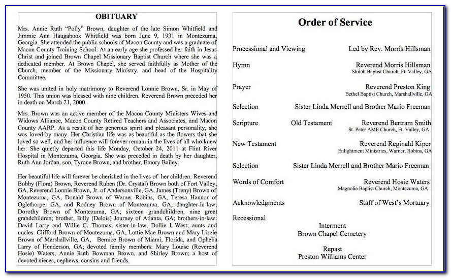 Funeral Obituary Program Templates