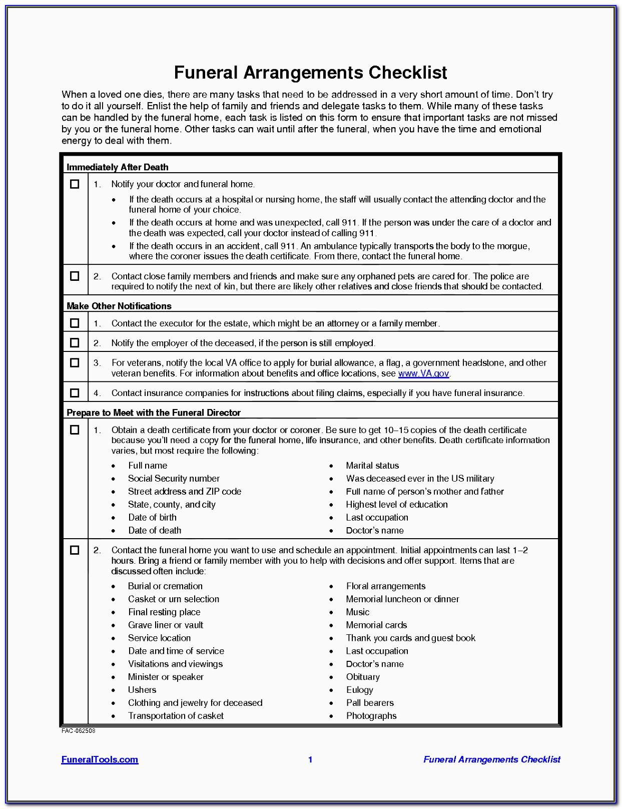 Funeral Planning Checklist Printable