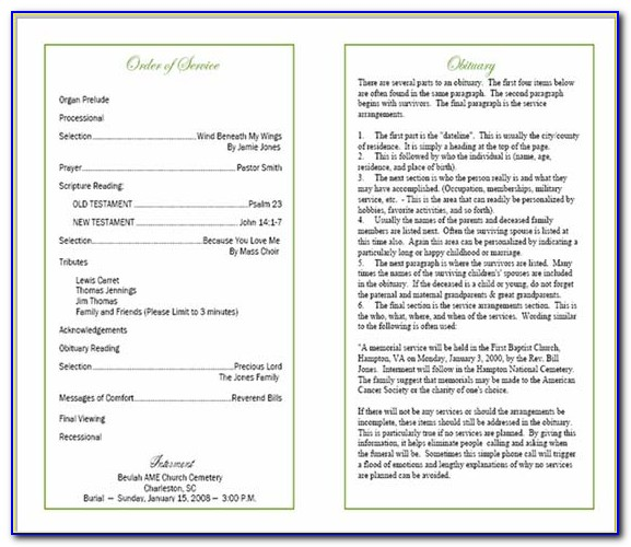 Funeral Program Order Of Service Layout