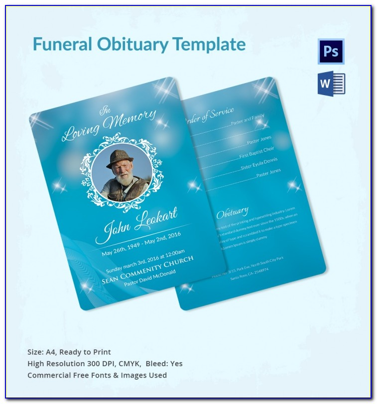 Funeral Program Template Free Mac