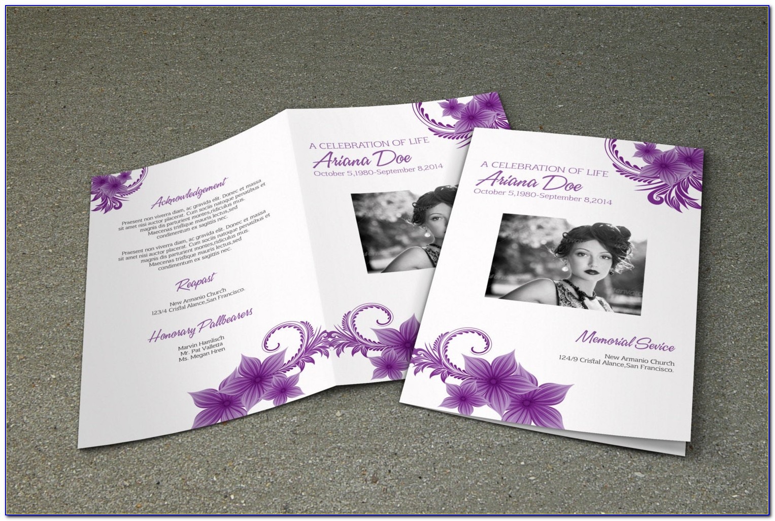 Funeral Program Template Psd Free Download