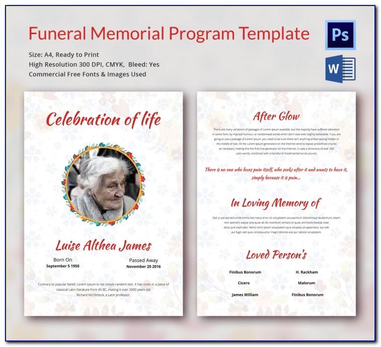Funeral Program Templates Free Word