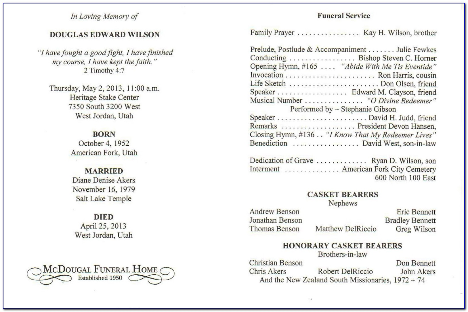 Funeral Service Brochure Templates