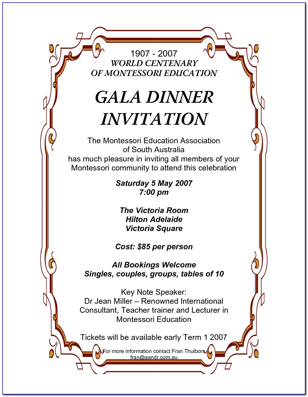 Gala Dinner Invitation Letter Template