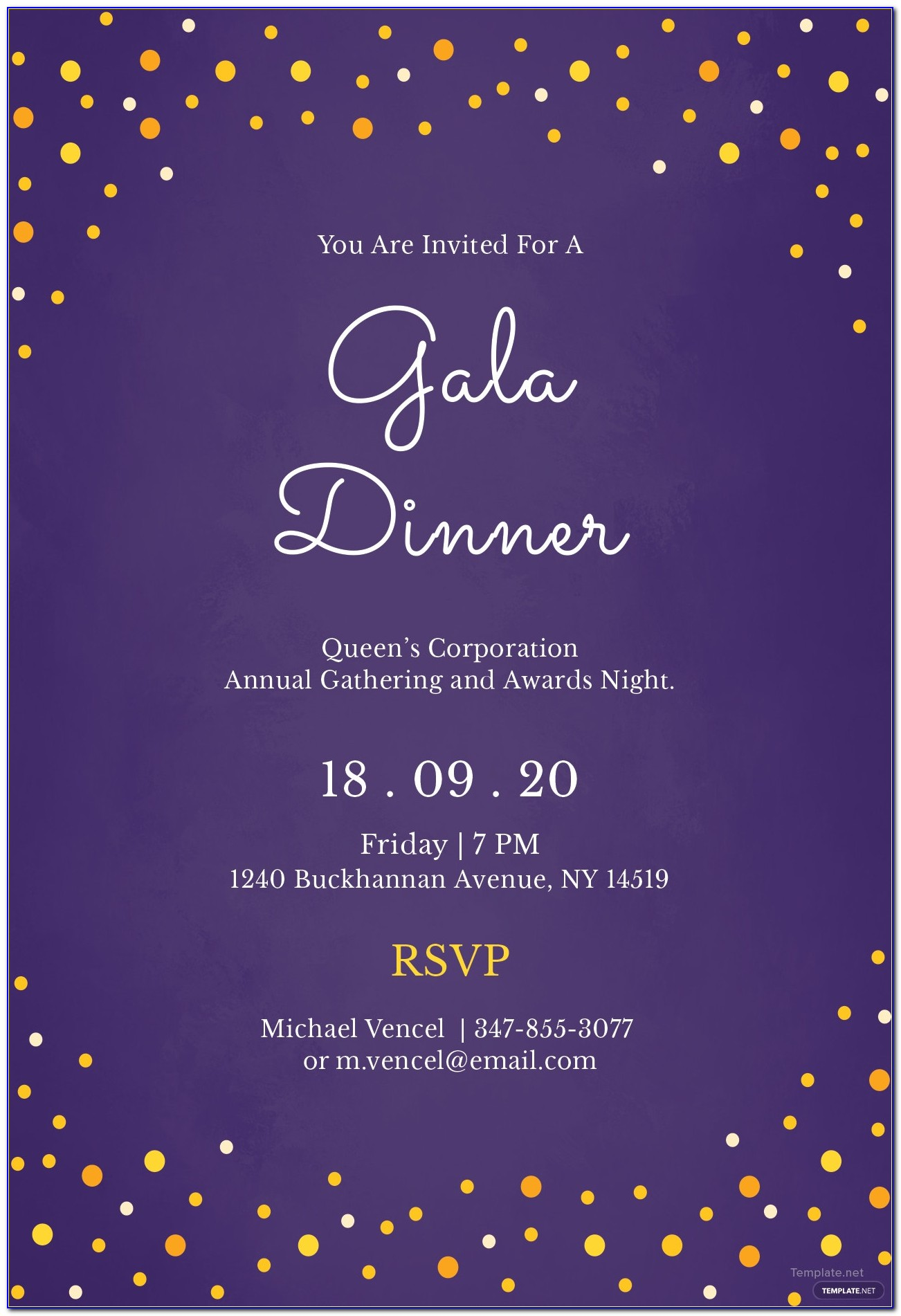 Gala Dinner Invitation Template