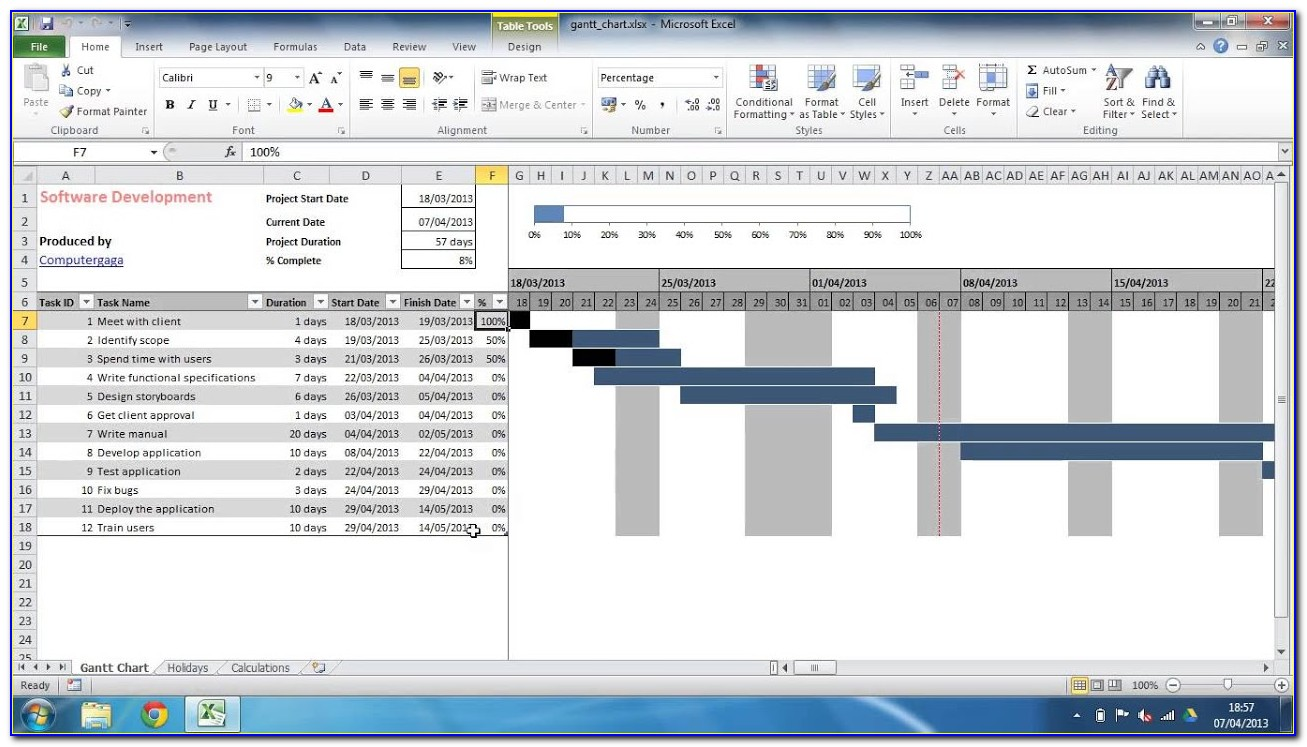 Gantt Chart Excel Template 2017