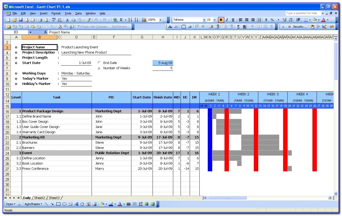 Gantt Chart In Excel 2003 Template