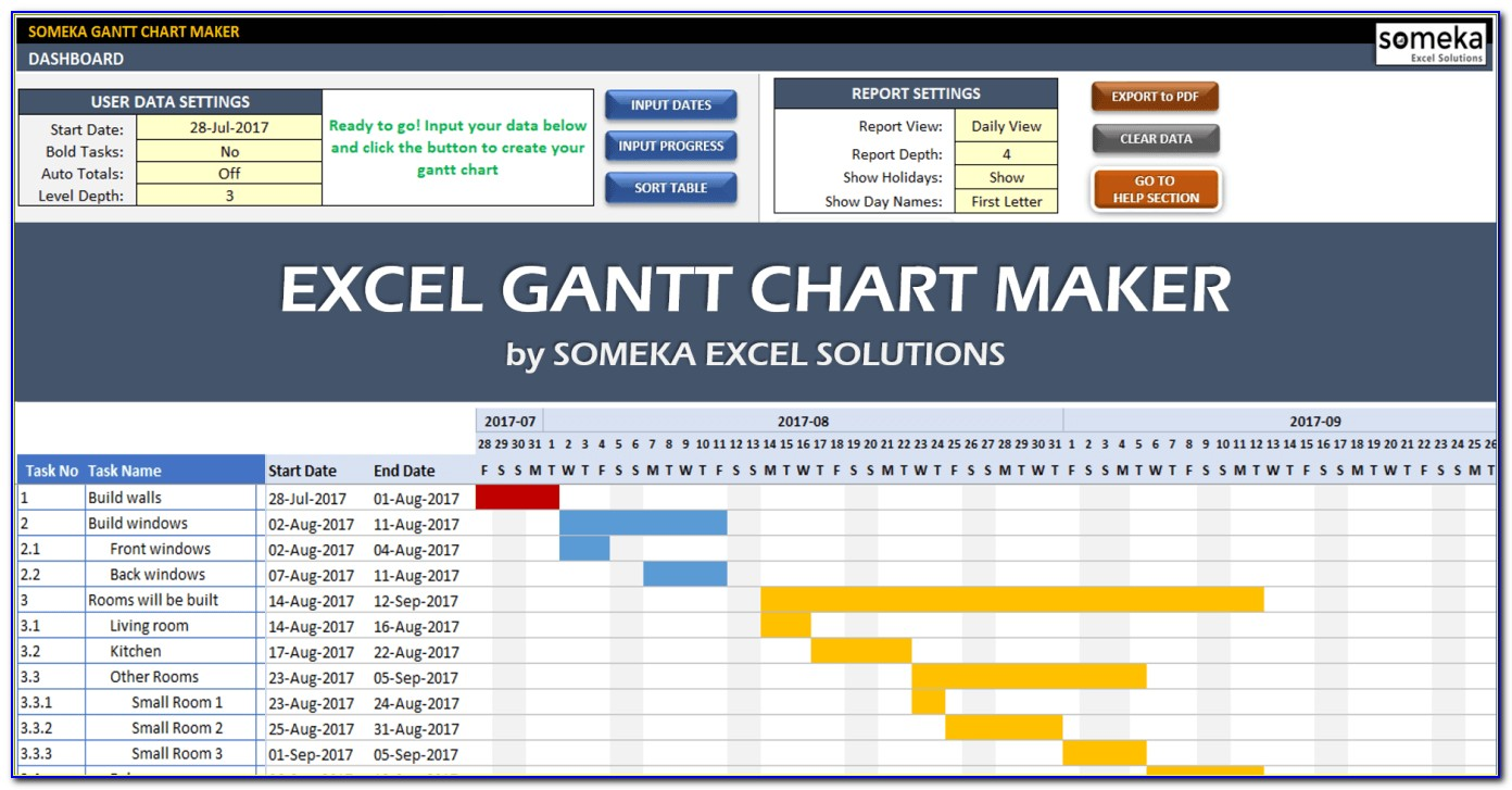 Gantt Chart In Excel 2016 Template