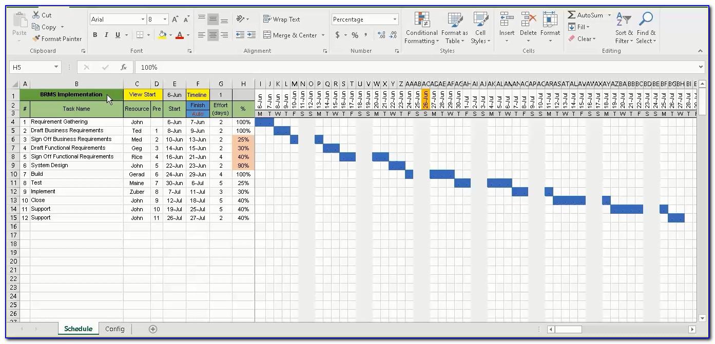 Gantt Chart Template Excel Download Free