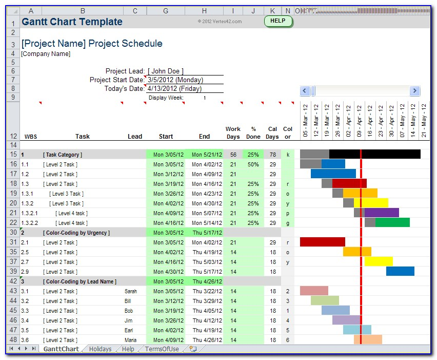 Gantt Chart Template Pro Xls