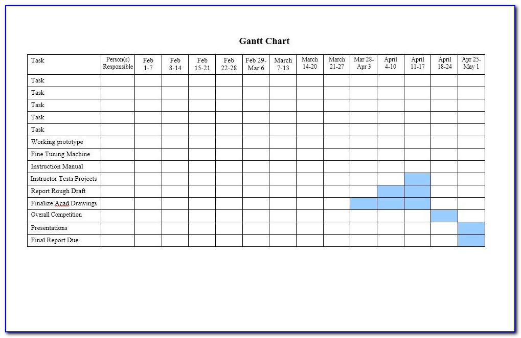 Gantt Chart Template Word 2003