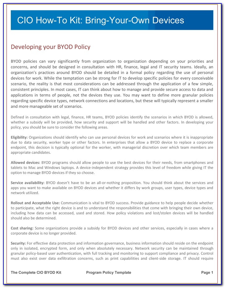 Gartner Byod Mobile Device Policy Template