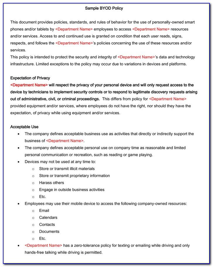Gartner Byod Policy Template