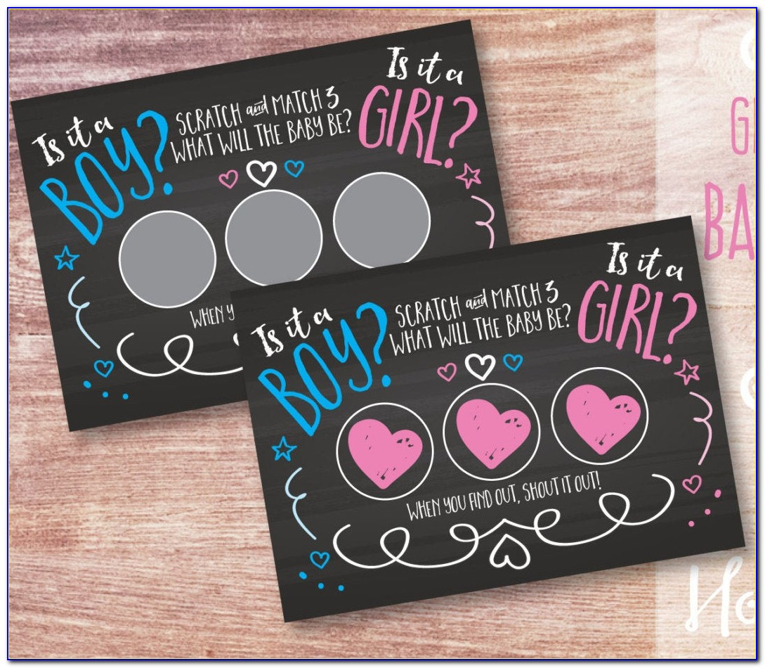 Gender Reveal Scratch Off Cards