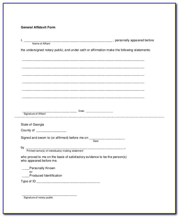 General Affidavit Form California Free