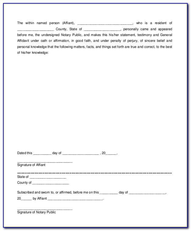 General Affidavit Template Free
