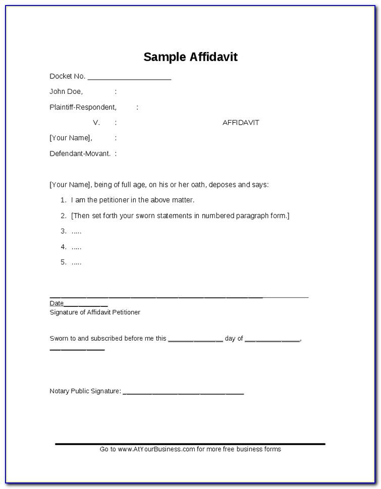 General Affidavit Template South Africa