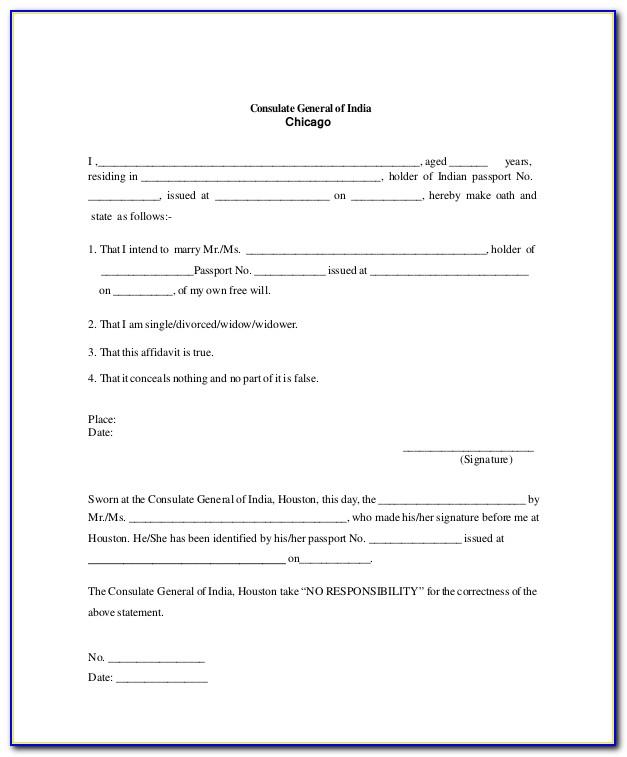 General Affidavit Template Uk