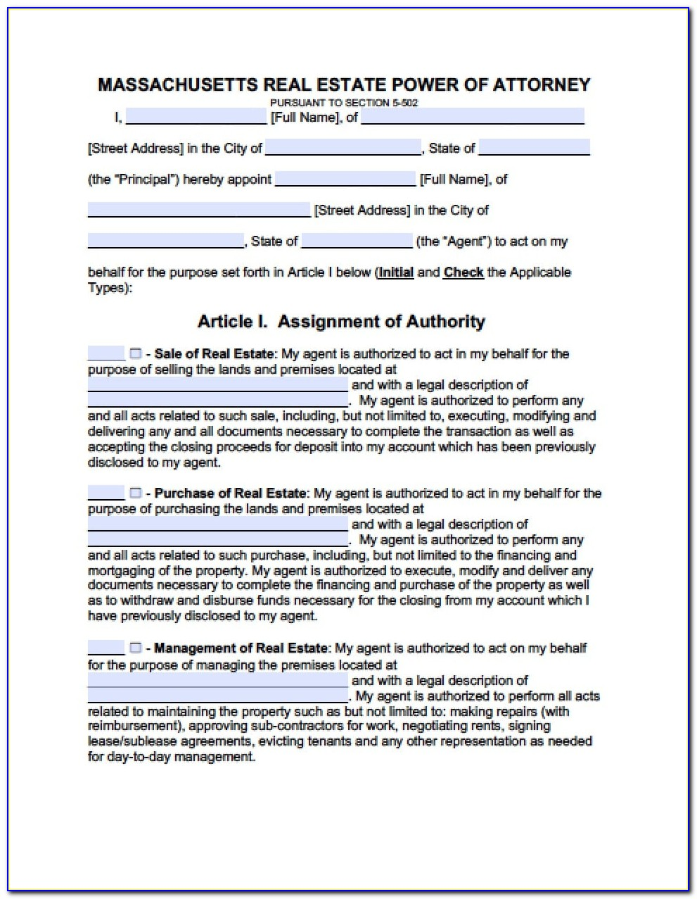 General Durable Power Of Attorney Form Michigan