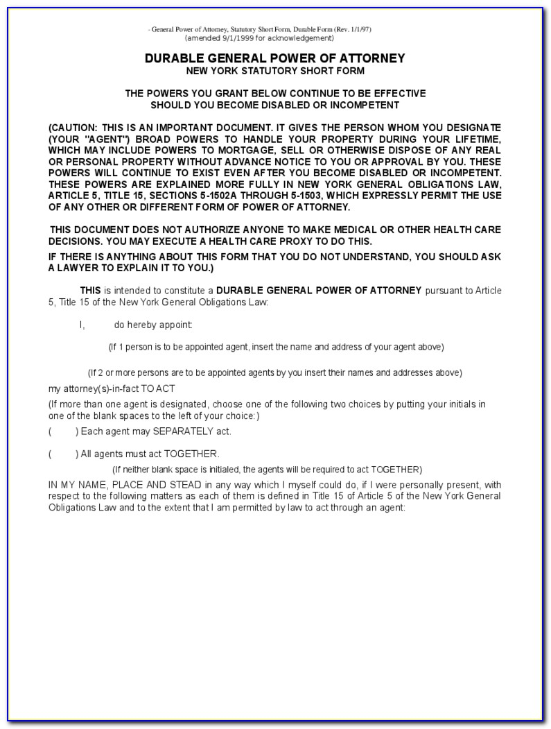 General Durable Power Of Attorney Forms