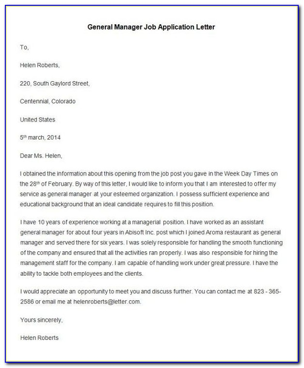 General Job Application Letter Example