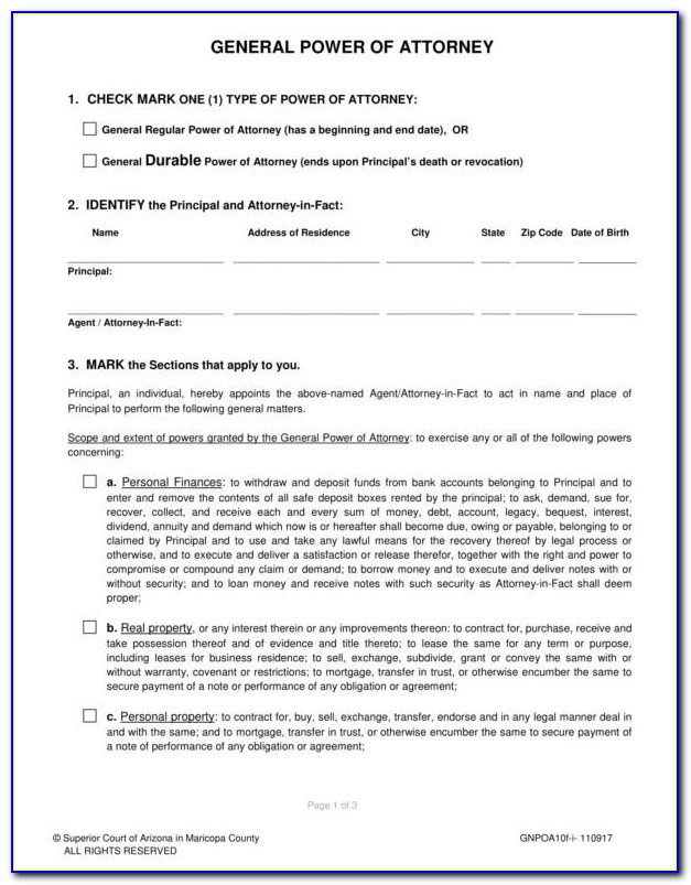 General Power Of Attorney Form Download South Africa