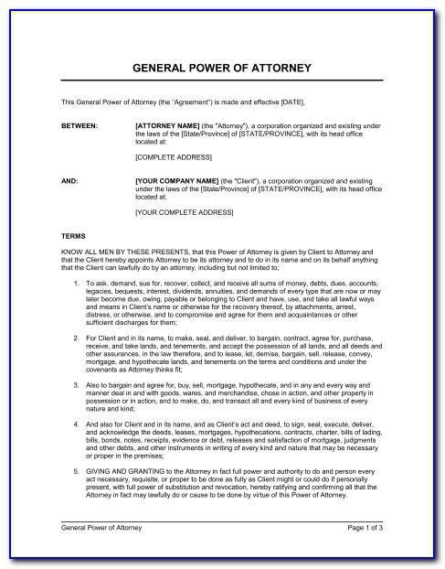 General Power Of Attorney Form Sample
