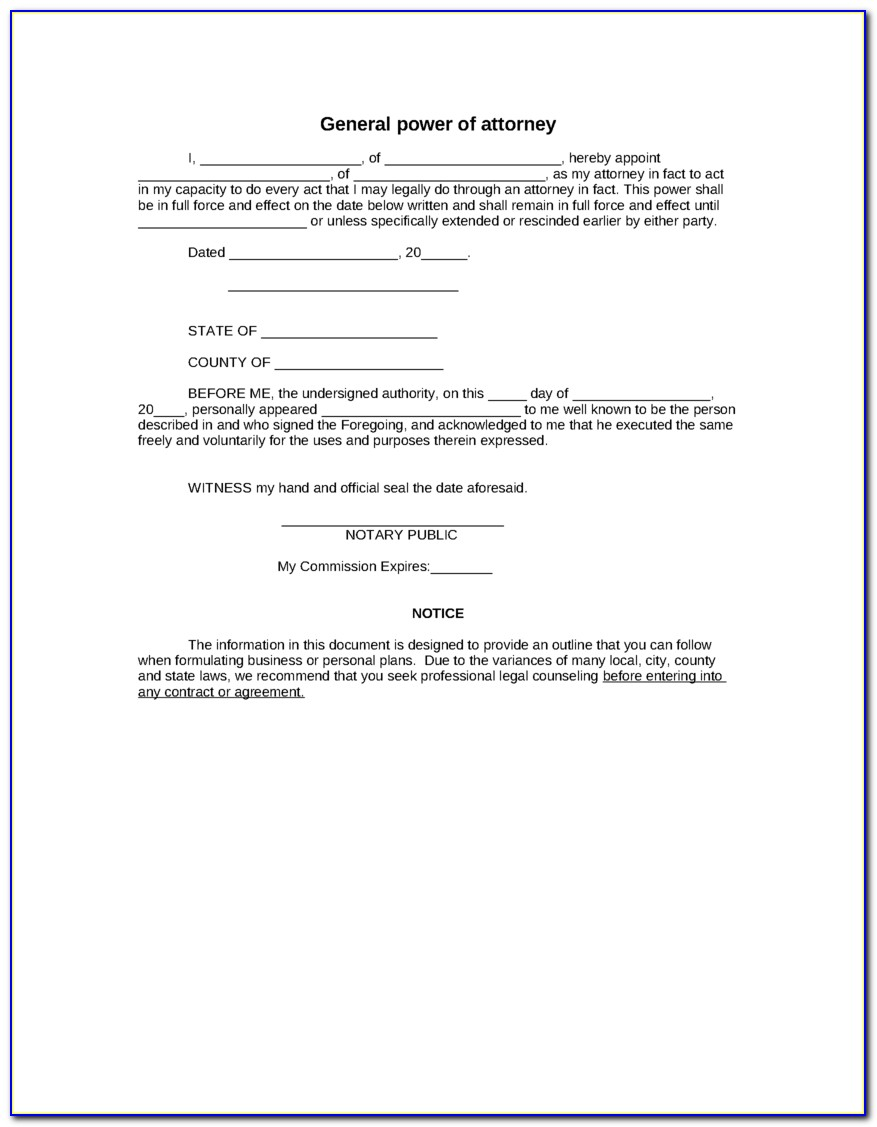 General Power Of Attorney Form Virginia Free