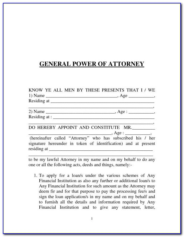General Power Of Attorney Format India