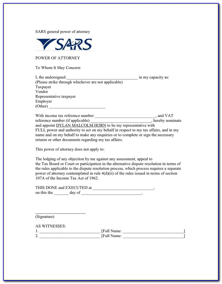 General Power Of Attorney Template Sars