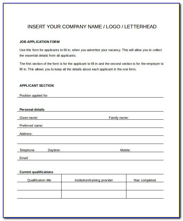Generic Application Form Template