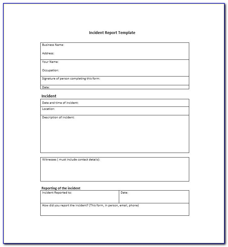 Generic Incident Report Form Pdf