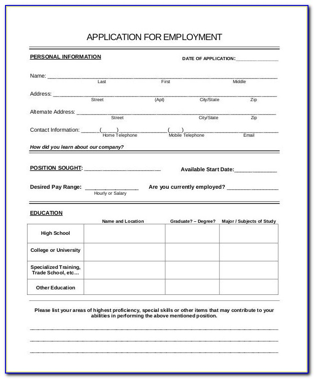 Generic Job Application Form Template Uk