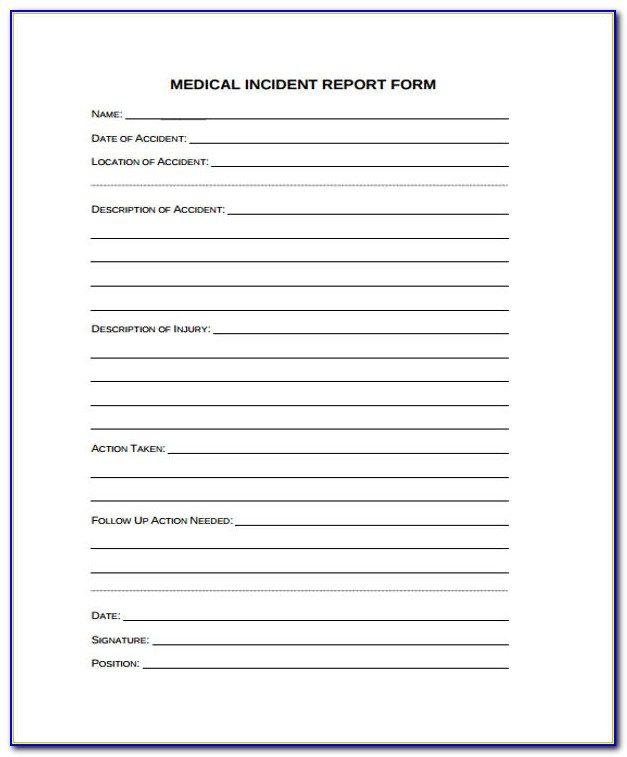 Generic Medical Incident Report Form