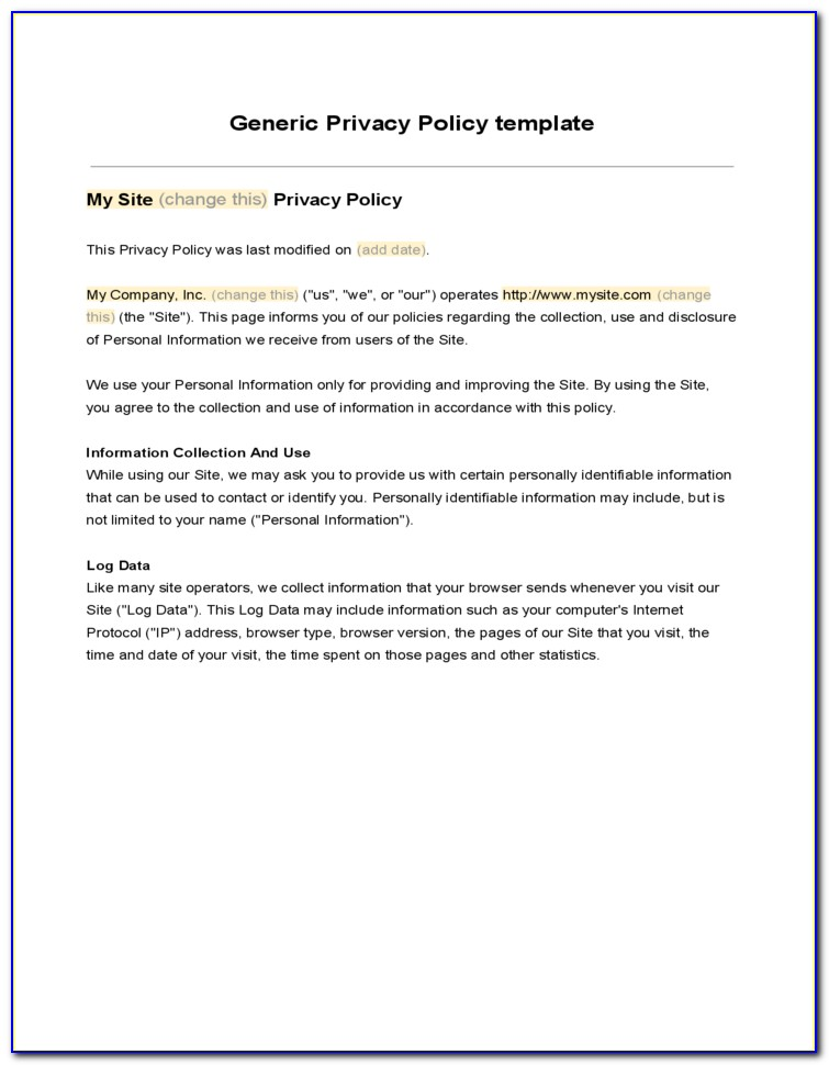 Generic Privacy Policy Template For Website