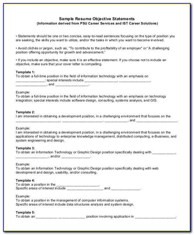 Generic Resume Template Examples