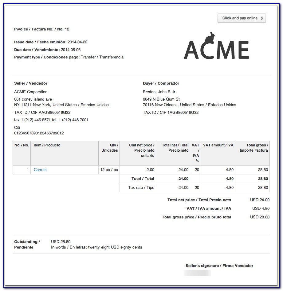 German Freelance Invoice Template
