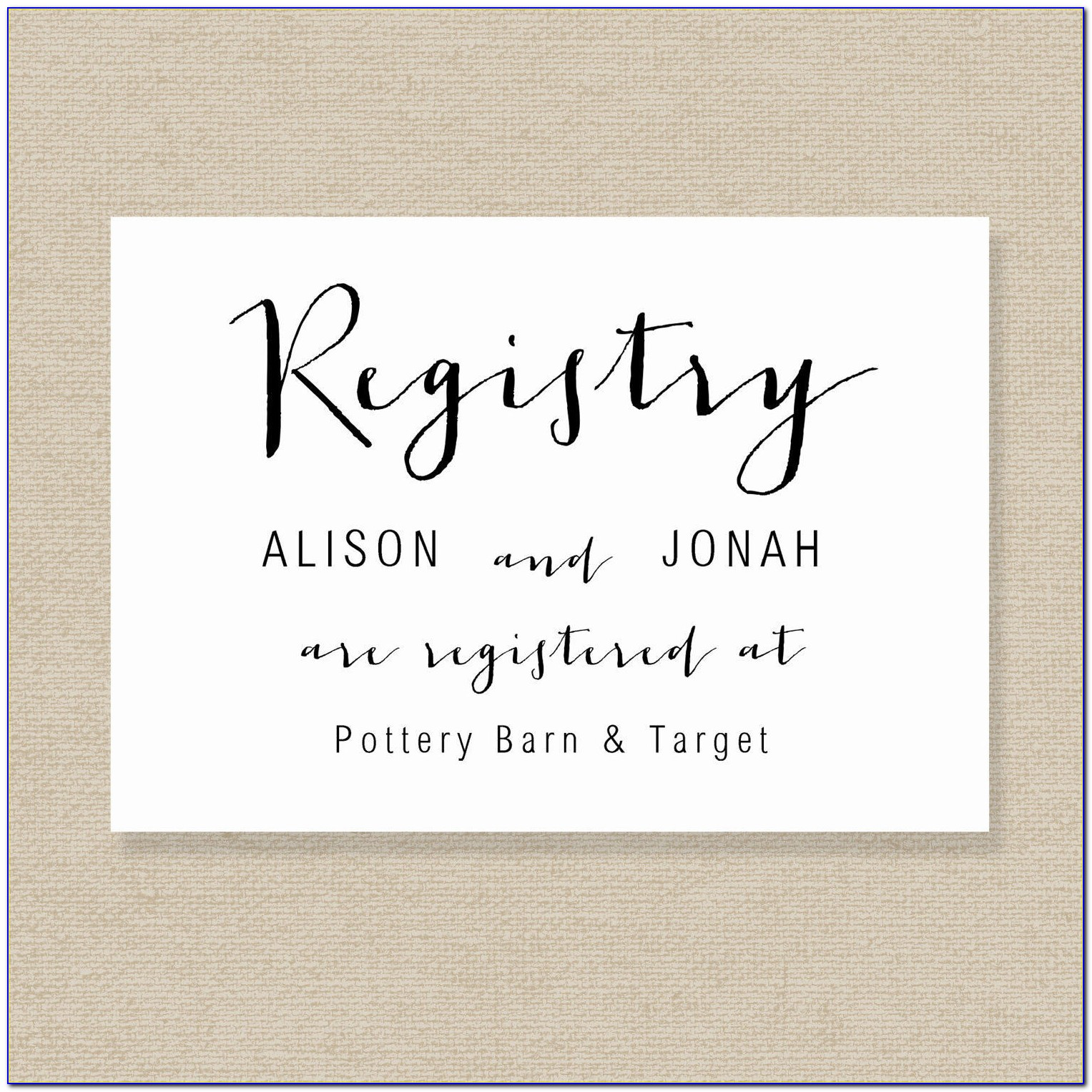 Gift Registry Card Template Free