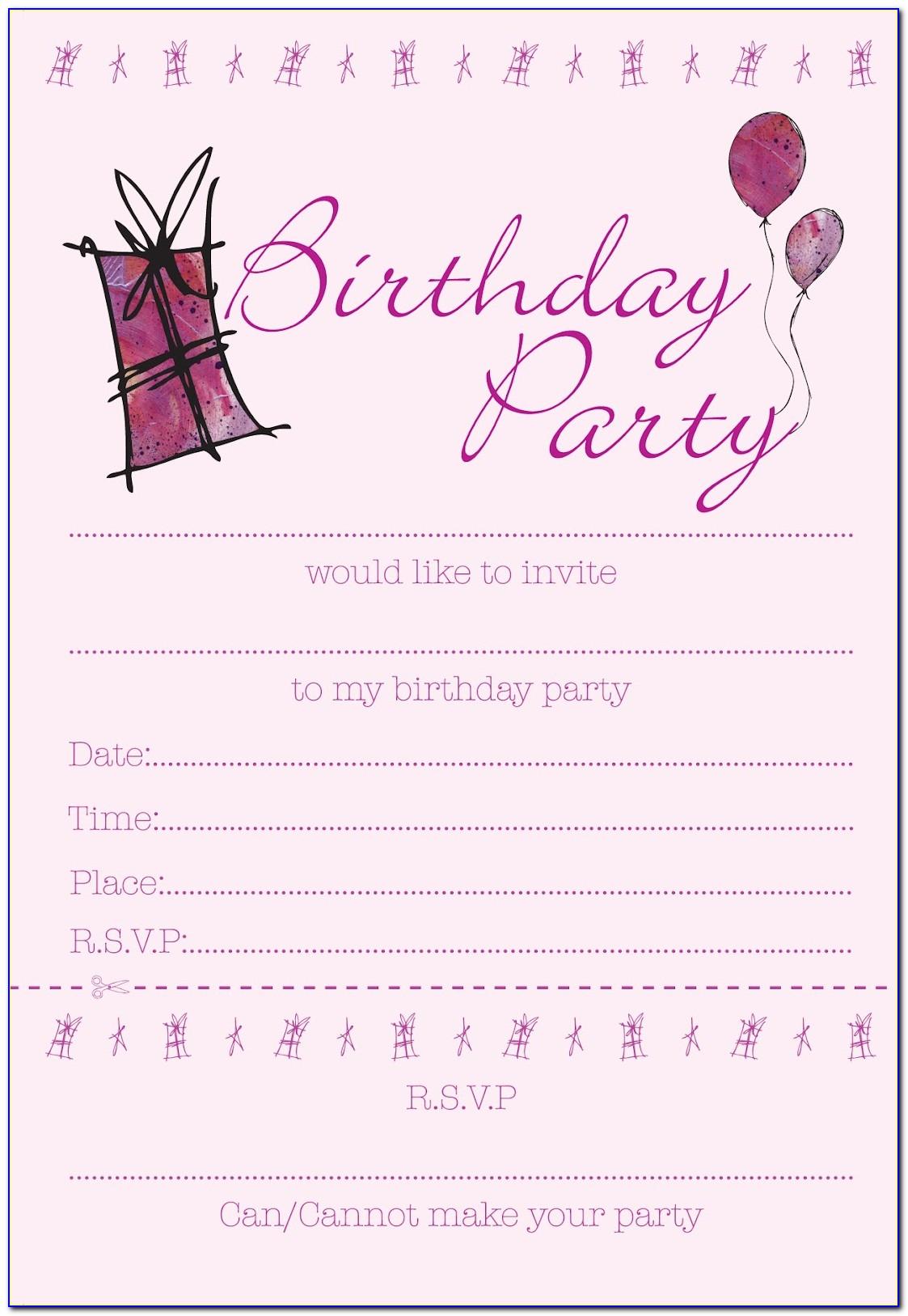 Girl Birthday Invitation Templates Free
