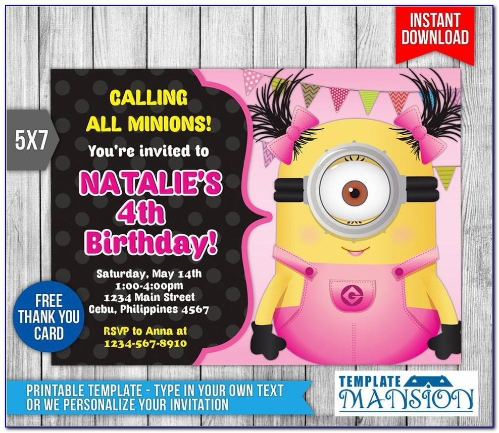 Girl Minion Invitation Template