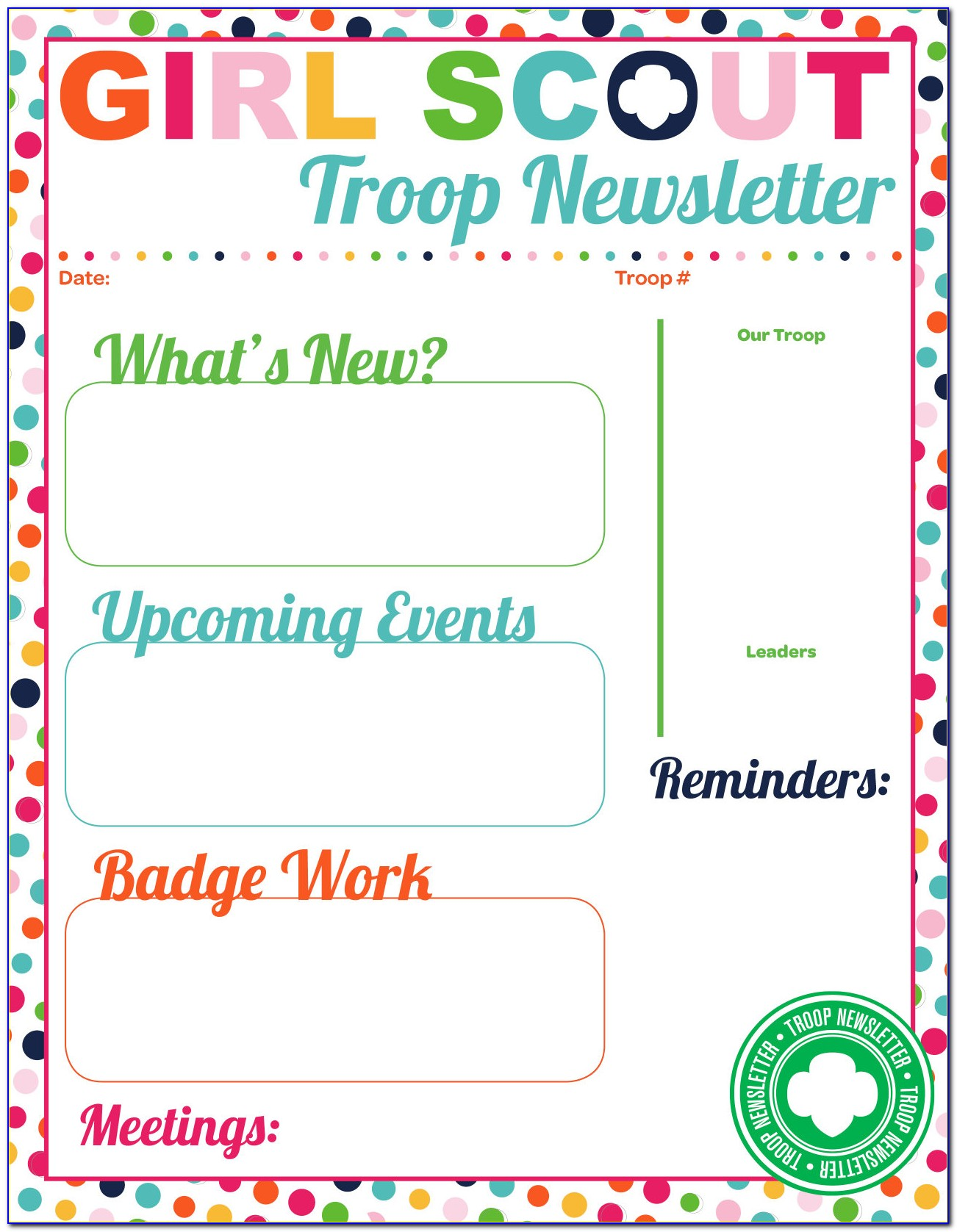 Girl Scout Brownie Newsletter Templates