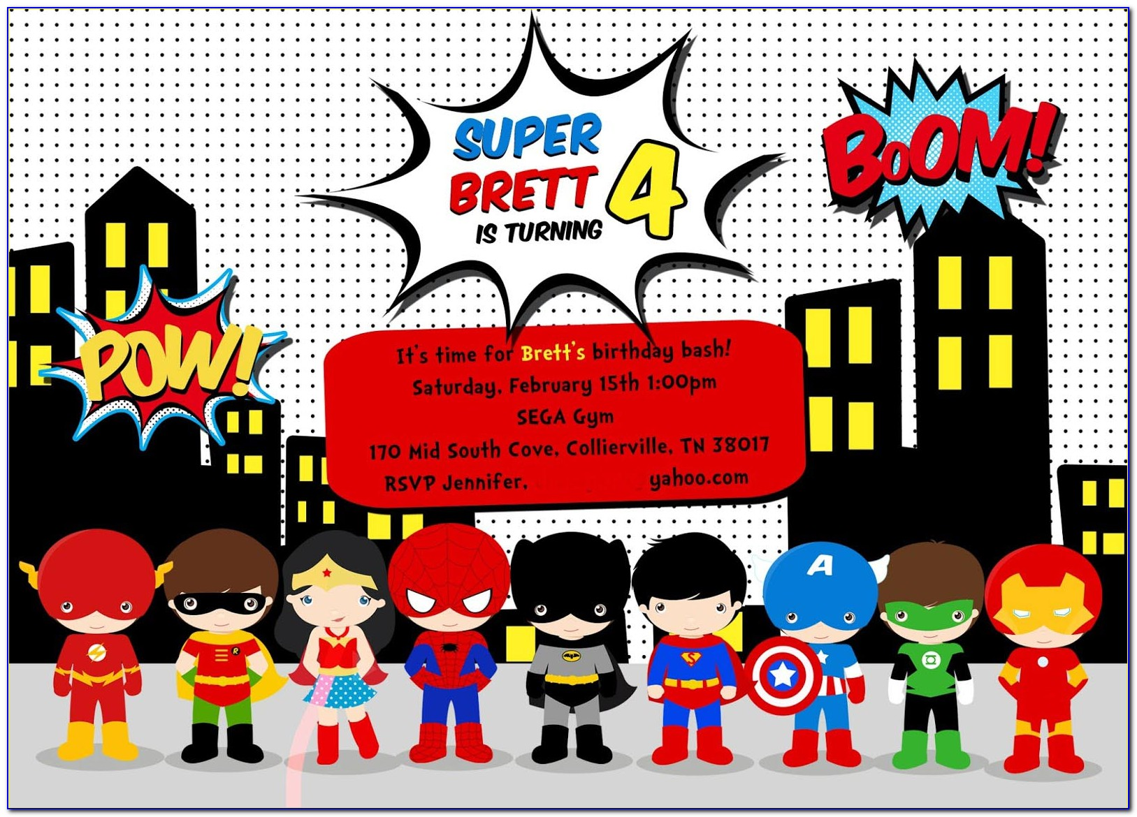 Girl Superhero Invitation Template Free