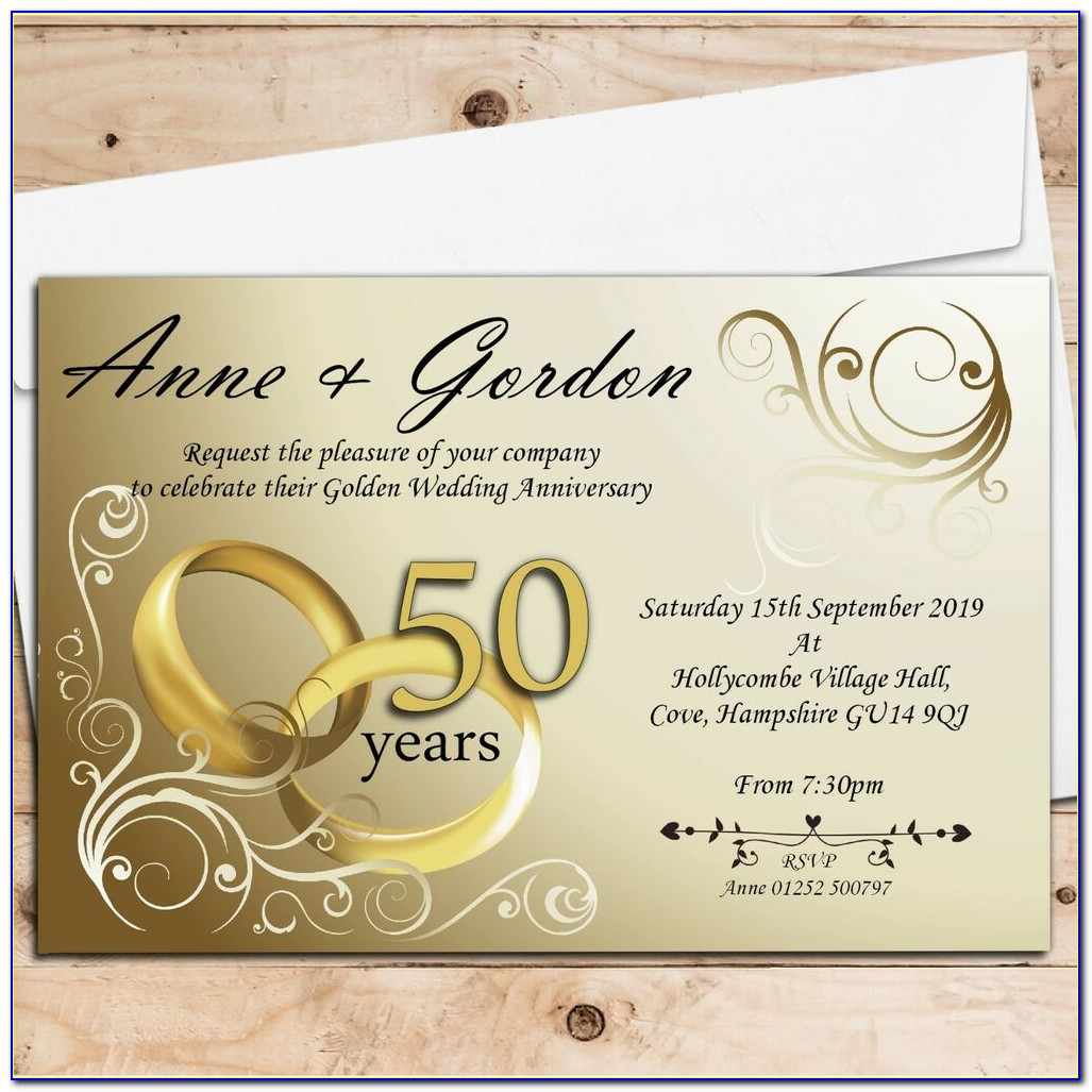 Golden Wedding Anniversary Invitation Sample