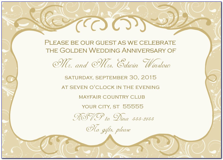 Golden Wedding Anniversary Invitation Templates
