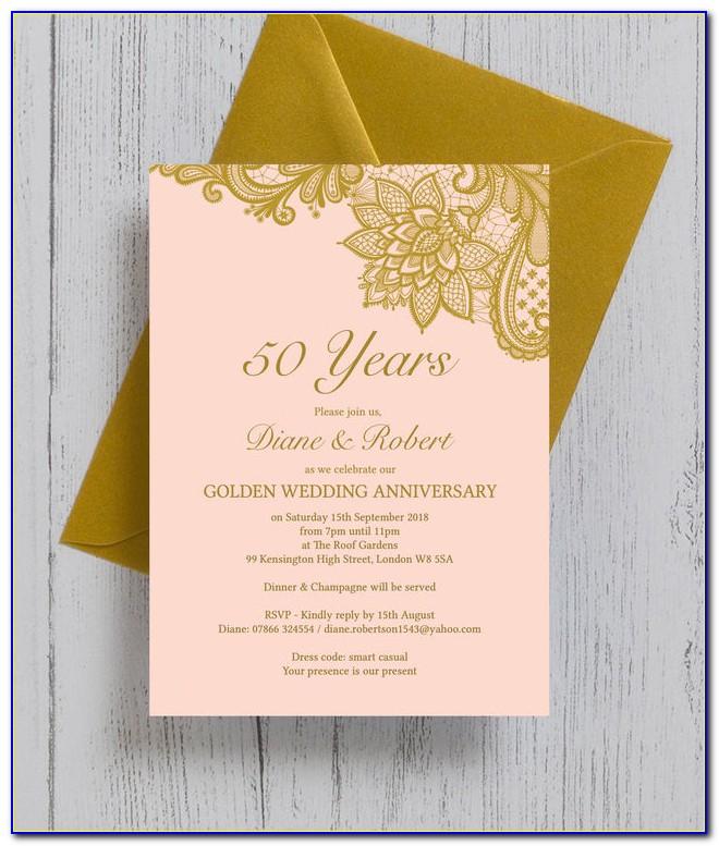 Golden Wedding Anniversary Invitation Wording