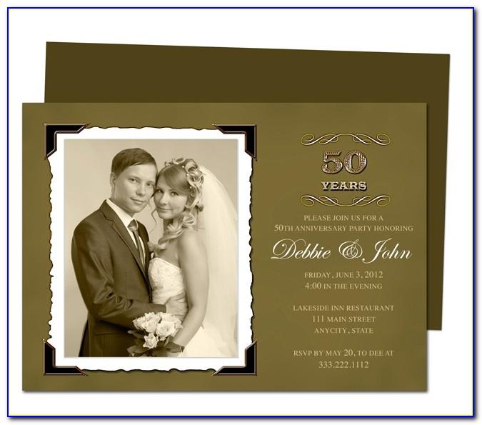 Golden Wedding Anniversary Invitations Templates